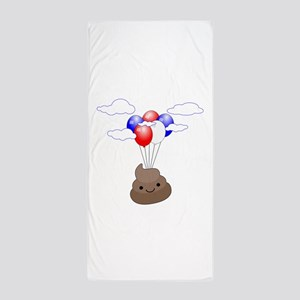 Poop Emoji Flying With Balloons Beach Towel