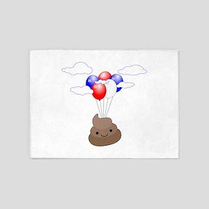 Poop Emoji Flying With Balloons 5'x7'Area Rug