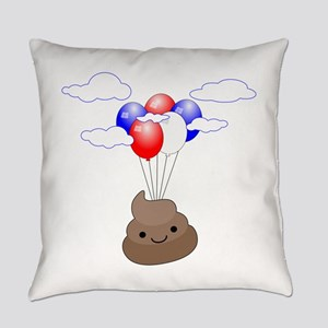 Poop Emoji Flying With Balloons Everyday Pillow