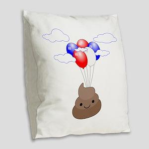 Poop Emoji Flying With Balloon Burlap Throw Pillow