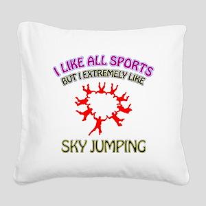 Sky Diving Design Square Canvas Pillow