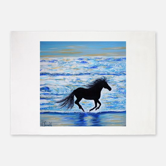 Running Free by the Sea 2 5'x7'Area Rug