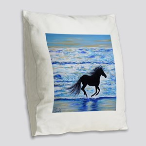 Running Free by the Sea 2 Burlap Throw Pillow