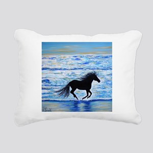 Running Free by the Sea Rectangular Canvas Pillow