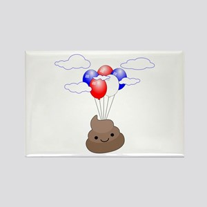 Poop Emoji Flying With Balloons Magnets