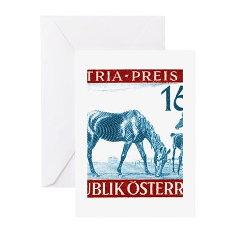 1946 Austria Racehorse And Foal Postage Stamp Gree