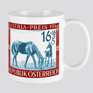1946 Austria Racehorse And Foal Postage Stamp Mug