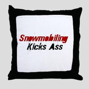 Snowmobiling Kicks Ass Throw Pillow