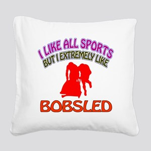 Bobsled Design Square Canvas Pillow