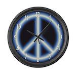 Blue Peace Symbol Large Wall Clock
