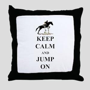Keep Calm and Jump On Horse Throw Pillow