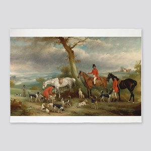 Vintage Painting of the Hunt 5'x7'Area Rug