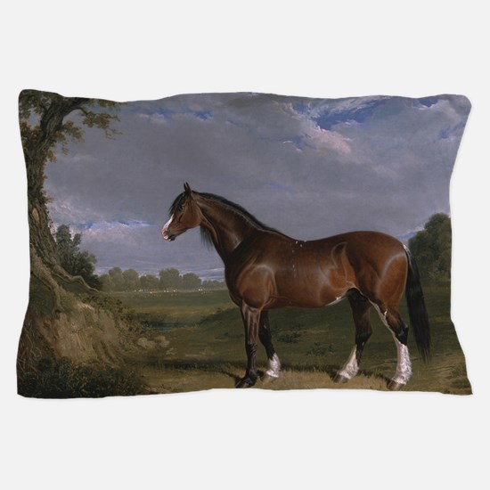 Vintage Painting of Clydesdale Stallion Pillow Cas