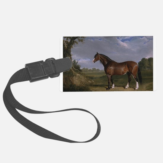 Vintage Painting of Clydesdale Stallion Luggage Tag