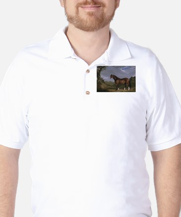 Vintage Painting of Clydesdale Stallion Golf Shirt
