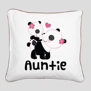 Aunt Panda Bear Square Canvas Pillow