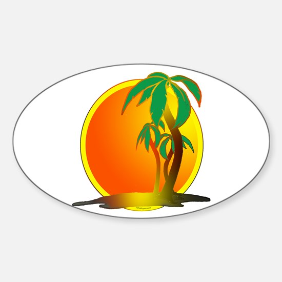 palm trees Sticker (Oval)