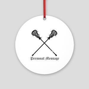 Personalized Lacrosse Sticks Ornament (Round)