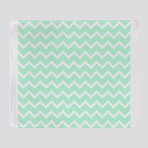 Mint Green Zigzags. Throw Blanket