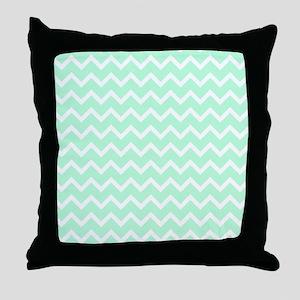 Mint Green Zigzags. Throw Pillow