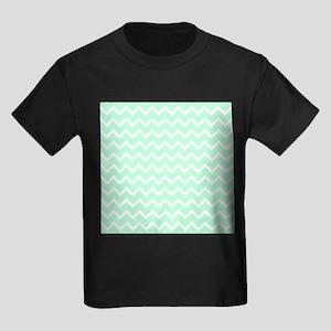 Mint Green Zigzags. Kids Dark T-Shirt