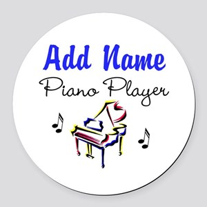 PIANO PLAYER Round Car Magnet
