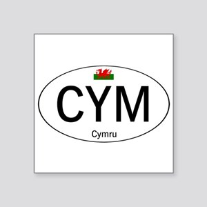"Car code Wales - White Square Sticker 3"" x 3"""