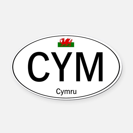 Car code Wales - White Oval Car Magnet