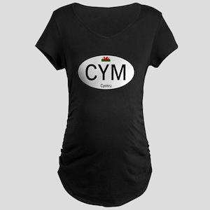 Car code Wales - White Maternity Dark T-Shirt