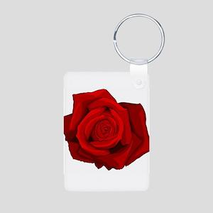 Red Rose Aluminum Photo Keychain