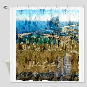 barcelona spain art illustration Shower Curtain