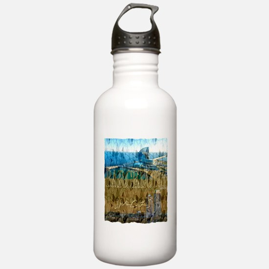 barcelona spain art illustration Water Bottle