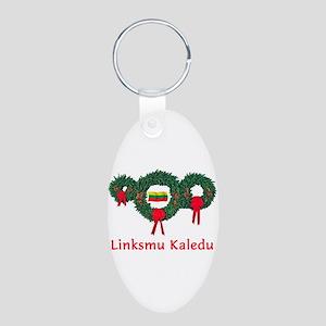 Lithuania Christmas 2 Aluminum Oval Keychain