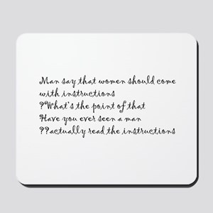Man and instructions Mousepad