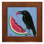Crow & Watermelon Framed Tile
