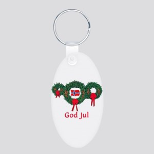Norway Christmas 2 Aluminum Oval Keychain