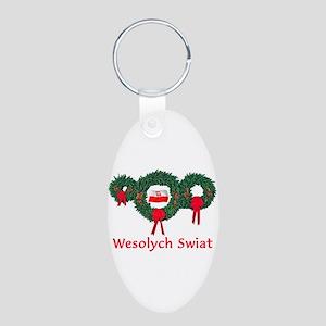 Poland Christmas 2 Aluminum Oval Keychain
