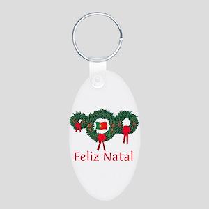 Portugal Christmas 2 Aluminum Oval Keychain