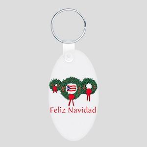 Puerto Rico Christmas 2 Aluminum Oval Keychain
