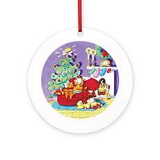 WAITING FOR SANTA! Ceramic Ornament (Round)