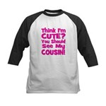 Think I'm Cute? Cousin Pink Kids Baseball Jersey
