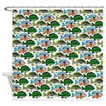 School of Sunfish fish Shower Curtain