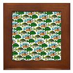 School of Sunfish fish Framed Tile