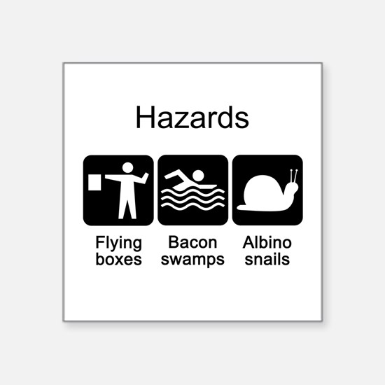 "Geocaching Hazards Square Sticker 3"" x 3"""