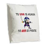 PIRATE Burlap Throw Pillow