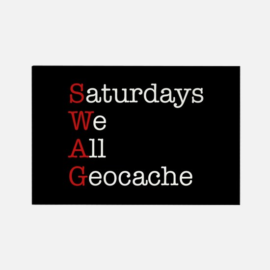 Saturdays we all geocache Rectangle Magnet