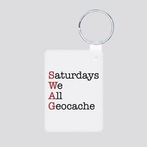 Saturdays we all geocache Aluminum Photo Keychain