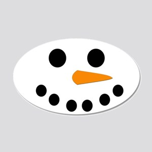 Snowman Face 20x12 Oval Wall Decal
