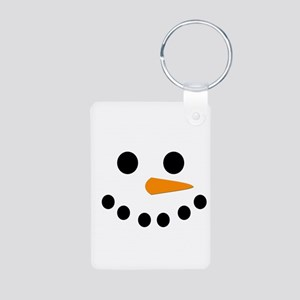 Snowman Face Aluminum Photo Keychain