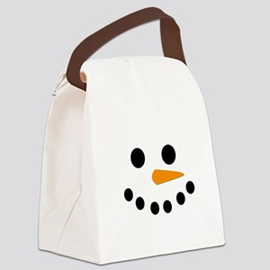 Snowman Face Canvas Lunch Bag